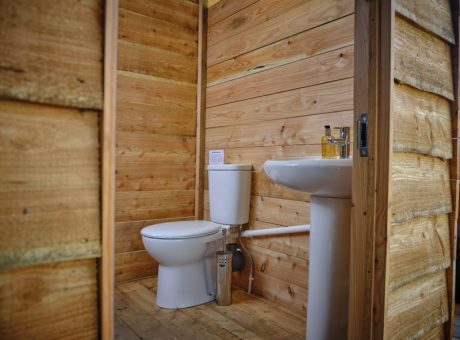 A white toilet and sink in a wooden cabin